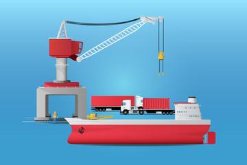 Tanker crane extended