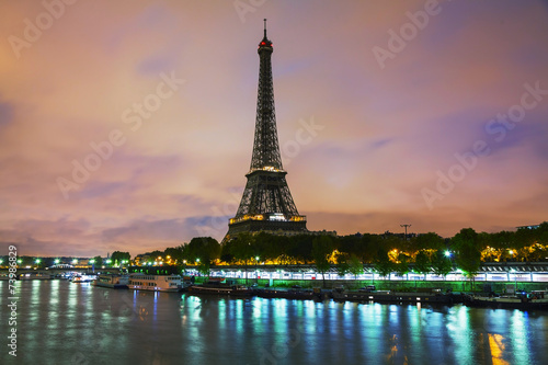 paris cityscape avec tour eiffel poster affiche acheter le sur. Black Bedroom Furniture Sets. Home Design Ideas