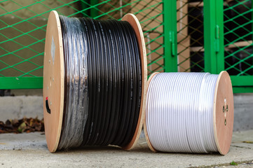 Two big spools of optic wire