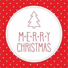 Vector card with Merry Christmas wishes and polka dots
