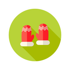 Christmas Red Santa Claus Gloves Flat Icon
