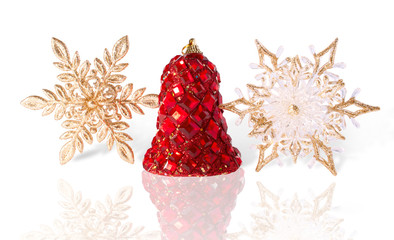 Brightly Finishing Christmas Bell and Golden Snowflakes