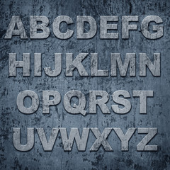 Latters of alphabet on grunge texture