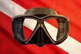 Grunge scuba flag with mask - 73988660