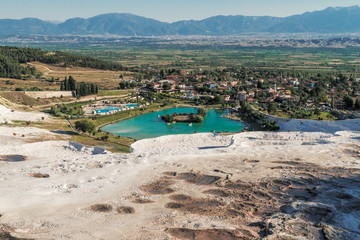 Landscape with lake surrounded of travertine, Pamukkale, Turkey