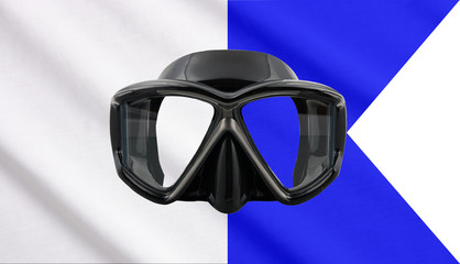 Divers flag and mask