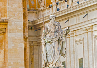 Statue of Apostle Paul in front of the Basilica of St. Peter