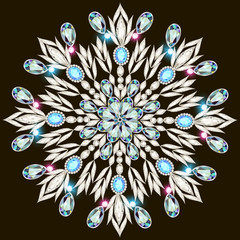 shiny snowflake made of precious stones on black background