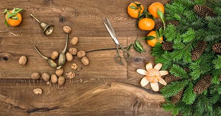 orange mandarins, walnuts and antique accessories
