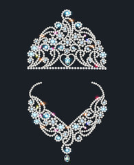 shiny tiara and necklace with gemstones