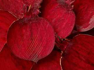 Beetroot slices macro