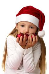 Addobbi di Natale e bambina col cappello