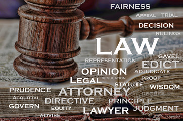 A wooden judge's gavel and words that describe law.