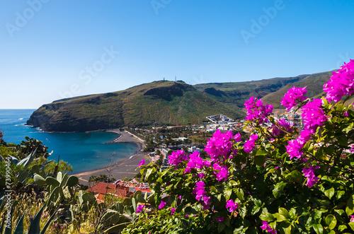 Leinwanddruck Bild Playa de Santiago village in mountain valley, La Gomera island