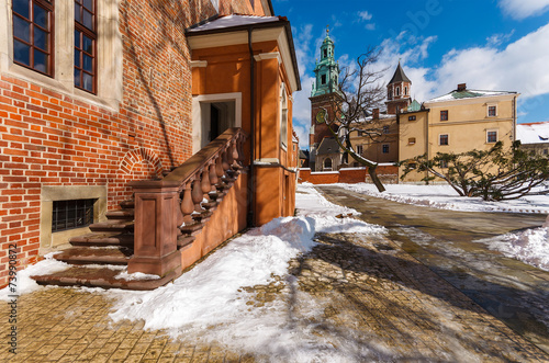 Staande foto Stockholm Wawel Royal Castle on sunny winter day, Krakow, Poland