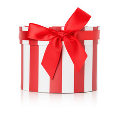 red round gift box isolated on the white background