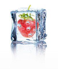 strawberry in ice isolated on the white background