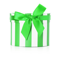 green round gift box isolated on the white background