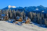 Houses in Bukowina Tatrzanska in winter, Tatra Mountains, Poland