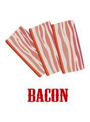 Cartoon bacon isolated on white