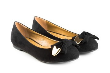 black fashion velvet woman shoes isolated