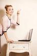 Businesswoman working on computer laptop