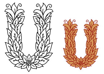 Alphabet letter U in a nature font with leaves