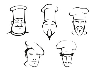 Sketches of chefs heads