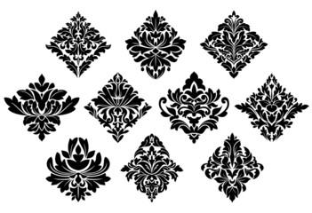 Black and white damask arabesque elements