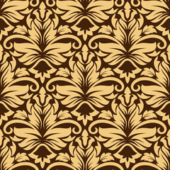 Seamless arabesque pattern in brown and beige