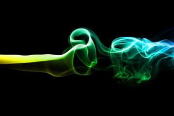 Colorful smoke on black