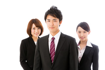 asian  businessgroup on white background