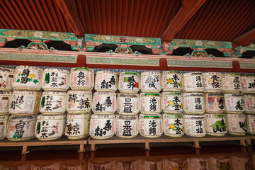 display of sake barrels at shrine in Nikko