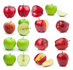 set of apple on white background
