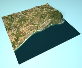 Numana vista satellitare, mappa, spaccato 3d