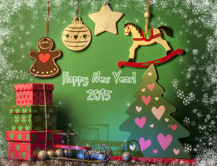 Christmas decorations with white horse. New year symbol 2015.