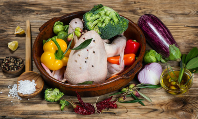 Preparing roast chicken with vegetables and spices