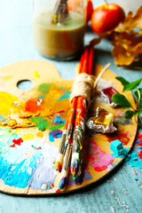 Beautiful still life with professional art materials, close up