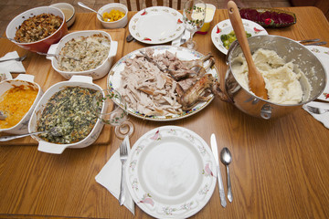 A Thanksgiving Day feast set out on a table