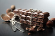 canvas print picture - Tasty porous chocolate with nuts on table, close up