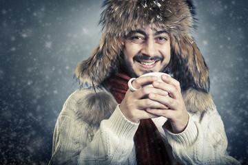 Russian style man on Christmas night.