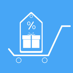 Shopping trolley with gift box and discount coupons.