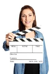 Attractive movie worker