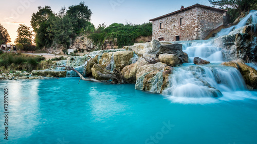 Natural spa with waterfalls in Tuscany, Italy - 73997005