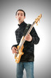 Guitar player isolated on the white background