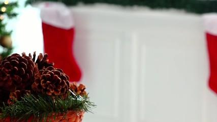 pines christmas centerpiece decor and socks