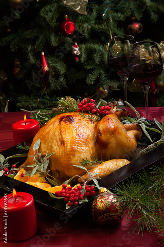 canvas print picture Christmas Turkey In Wooden Tray