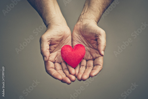 old hands of the elderly giving a red heart - 73997669