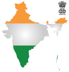 Flag and national emblem of the Republic of India