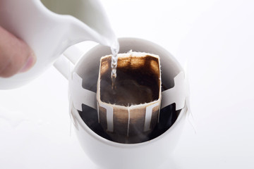 Instant freshly brewed cup of coffee